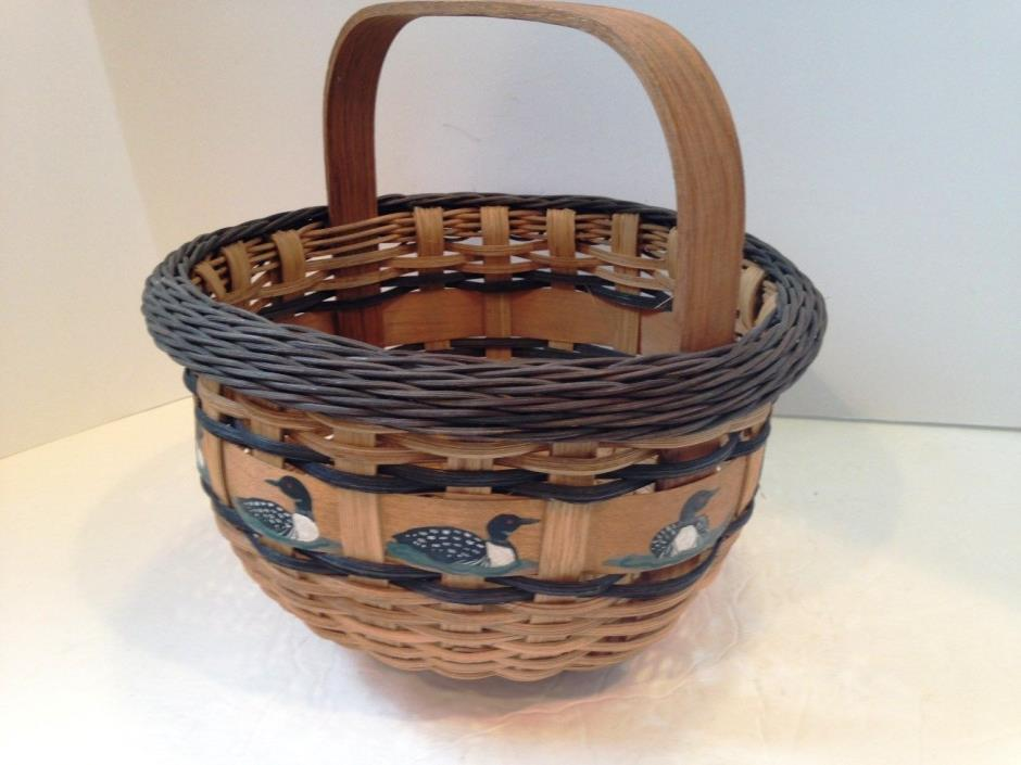 Hand Crafted Basket w/wood Handle Signed by artist 1999 Hand painted Loons