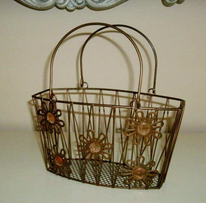 Vintage Style Bronze Metal Small Wire Basket Handled Tote w/ Retro Daisy Accent