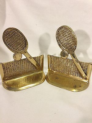 Tennis Racquet Bookends Vintage Solid Brass