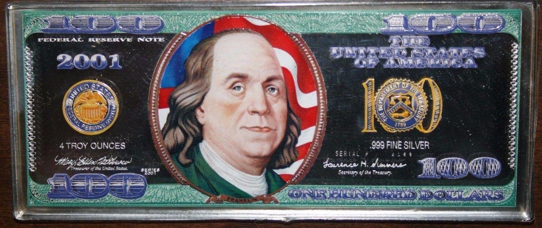 2001 4 oz .999 Silver Bar Ben Franklin Painted Bar