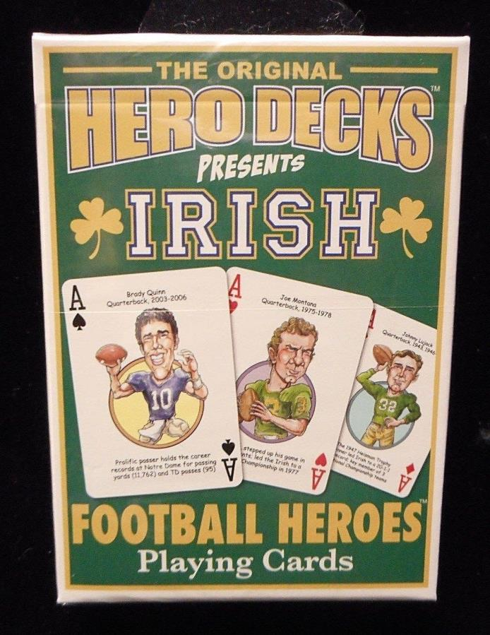 NEW University of Notre Dame Irish Football Heroes Playing Cards