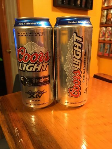 Coors Light Pittsburgh Steelers Super Bowl XIV 16 oz Beer Can