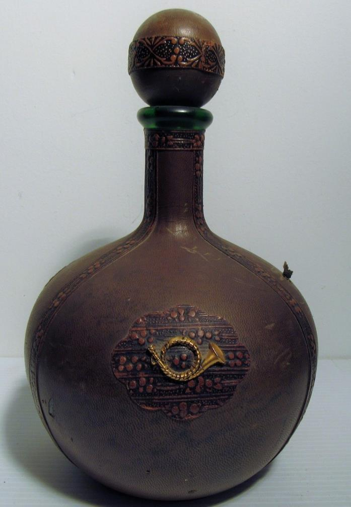 Vintage Round Green Glass Wine/Spirits Decanter Leather Wrapped Made in Italy