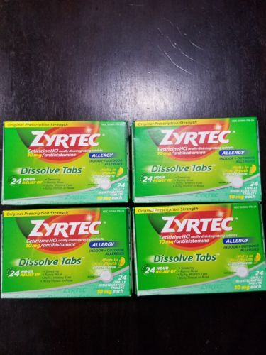 Zyrtec 24 hour 24 Tabs (Pack of 4)