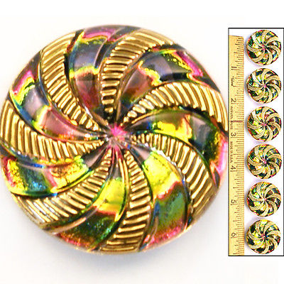Reduced! 27mm Vintage Czech Glass Rainbow AB Pinwheel Gold SWIRL Buttons 6pc