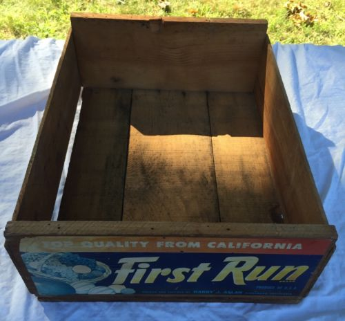 Vintage Antique Old Wooden Wood First Run California Fruit Box Crate 17.5