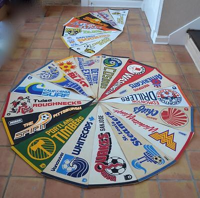 Lot  23 Vintage Full Size LOGO Now Defunct Soccer Pennants NASL MISLO 70's 80's
