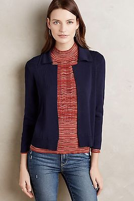 Anthropologie Lyssa Knit Jacket Navy size M