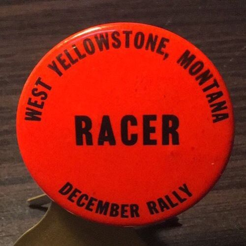 Vintage West Yellowstone Montana December Rally Snowmobile Racer Pin Back Button
