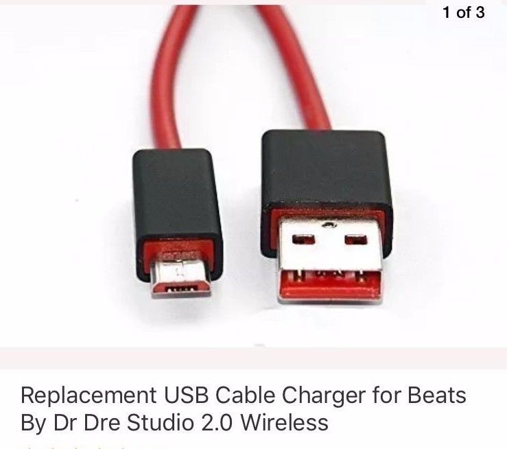 Replacement USB Cable Charger for Beats By Dr Dre Studio 2.0 Wireless