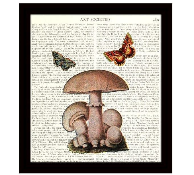 Dictionary Kitchen Art Print 8 x 10 Mushrooms Two Colorful Butterflies Unframed