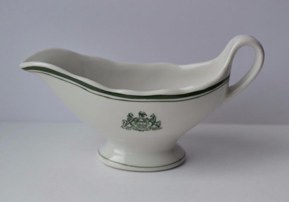 JACKSON CHINA Green Band Gravy Sauce Boat ~ Pennsylvania Seal Crest Coat of Arms
