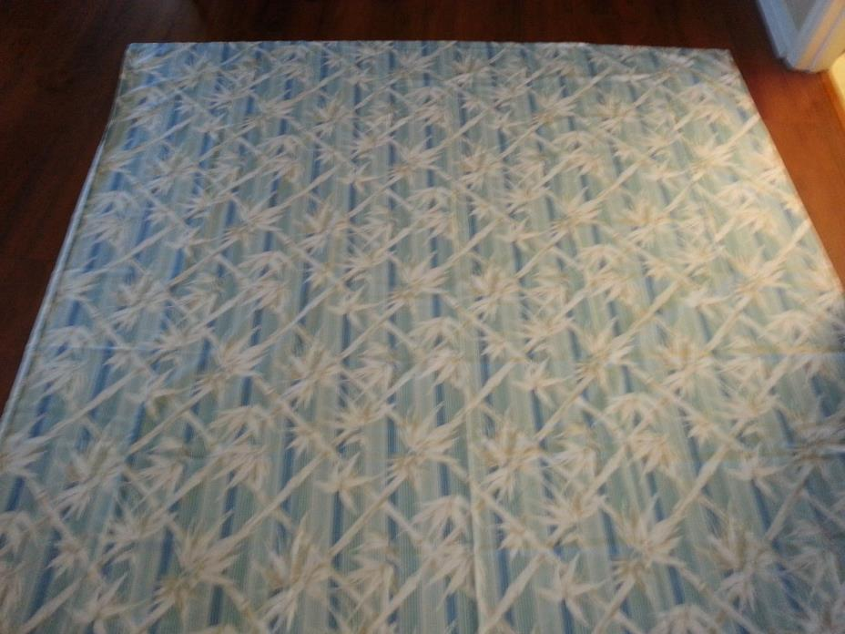 Vintage Bamboo Designed Bed Sheets, Blue, White, Tan-double