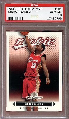 2003-04 upper deck mvp #201 LEBRON JAMES cleveland cavaliers rookie card PSA 10