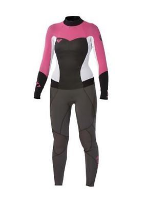 NEW Quiksilver Roxy Womens Synchro 3/2 mm Back Zip Full Wetsuit White Pink Gray