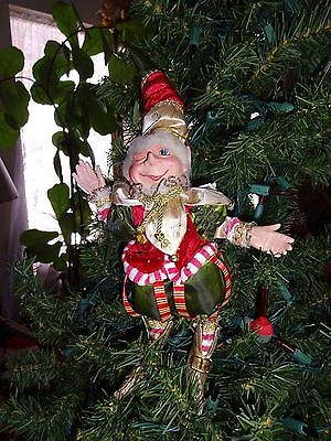JESTER ELF IN CHRISTMAS COLORS AND BELLS 14.5 INCH WINKING AT YOU! LOADS OF FUN!