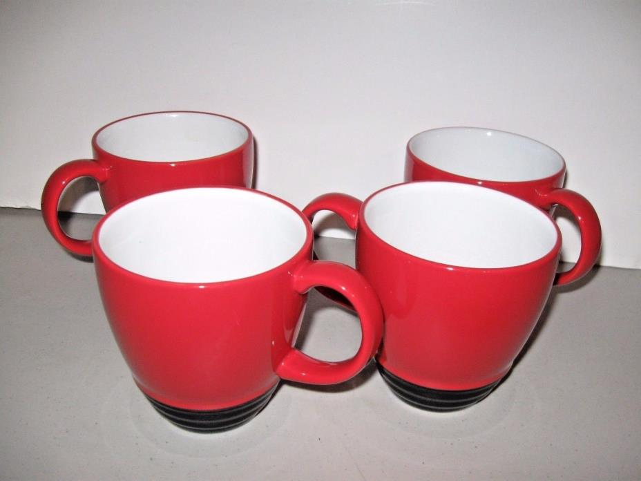 4 Pfaltzgraff EMPIRE RED Coffee/Tea Mugs Cups Black Bottom WhIte Interior