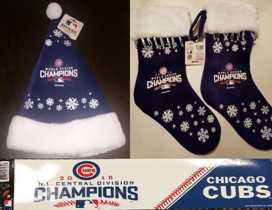 NEW MLB Chicago Cubs 2016 World Series Champs Xmas Hat 2 Stockings Rizzo Bryant