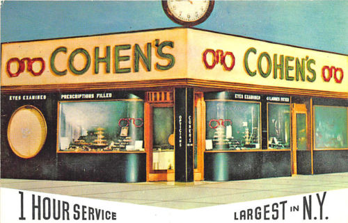 New York NY Cohen's Optical Company 117 Orchard Street Postcard