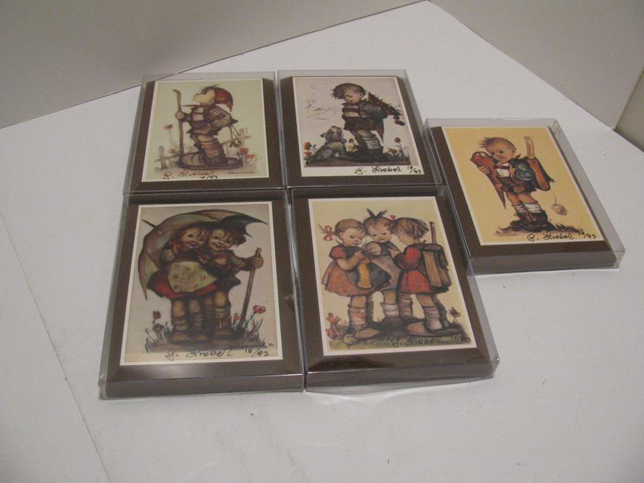 Vintage Signed & Dated 10/93 - Hummel Wood Wall Plaques  - Set of 5
