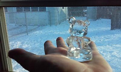 Glass Teddy Bear Candle Holder for 1 Candle