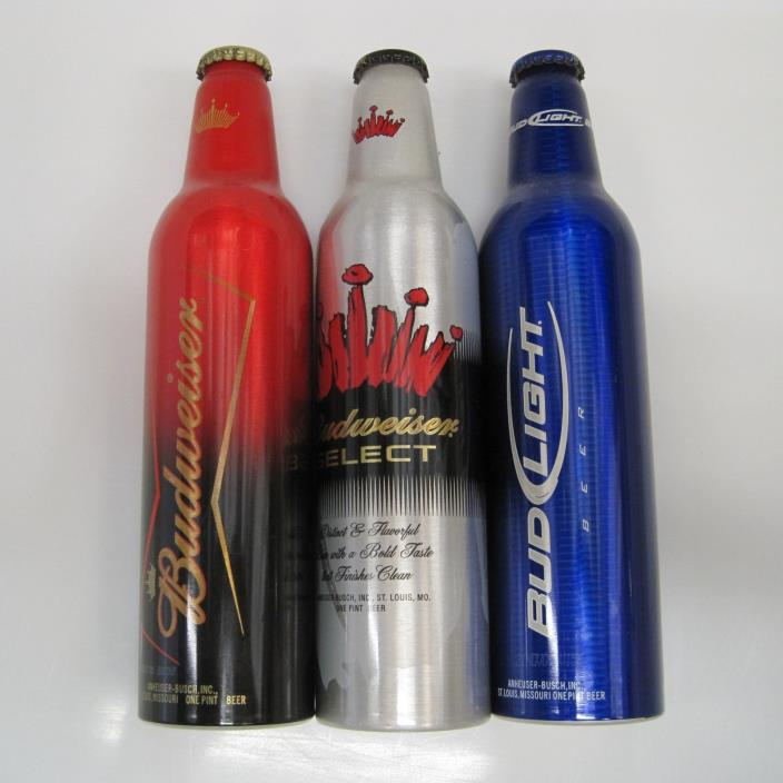 Budweiser, Select, Bud Light Aluminum Can Bottles 2005 UNCAPPED empty