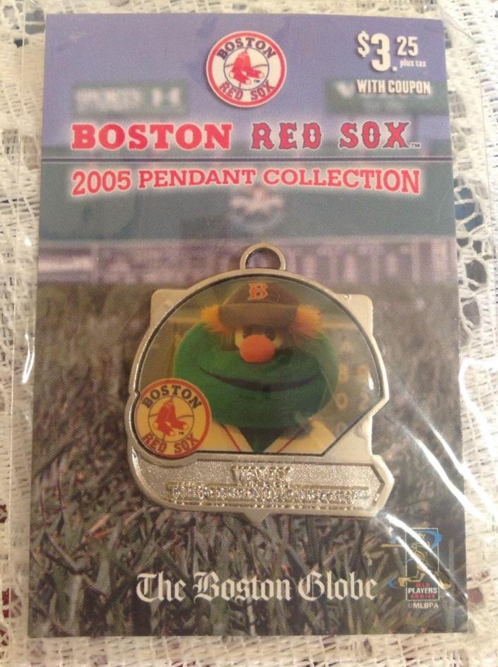 2005 BOSTON GLOBE RED SOX WALLY THE GREEN MONSTER PENDANT NEW MASCOT CHARM