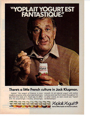 1981 ACTOR JACK KLUGMAN IN A YOPLAIT YOGURT AD