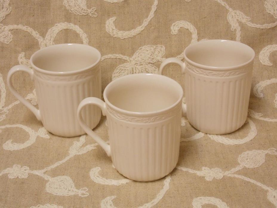 MIKASA Italian Countryside Mugs White Lot of 3