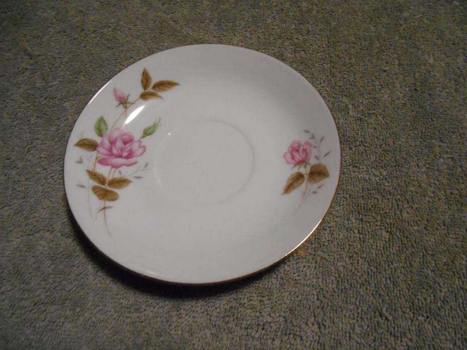 SAUCER WITH PINK ROSE MARKED MADE IN CHINA & CHINESE WRITING