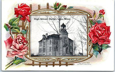 Buffalo Lake, Minnesota Postcard HIGH SCHOOL Building View w/ 1910 Cancel