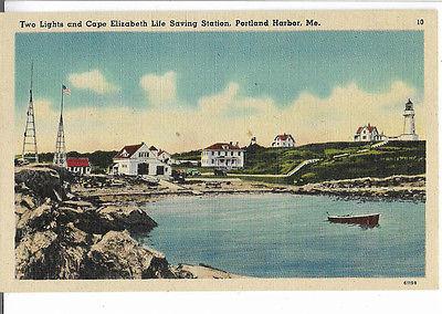 2 Lights and Cape Elizabeth Life Saving Station Portland Harbor Me 1940 Postcard