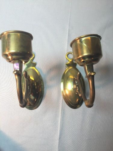 Vintage Brass Candle Holders Wall Mount Rare