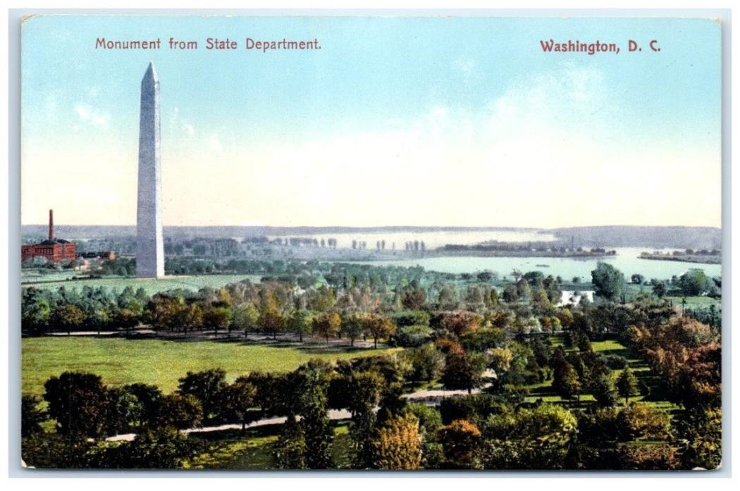 Early 1900s Washington Monument from State Department, Washington, DC  Postcard