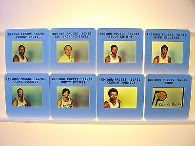 1982/83 NBA TV Slide Transparency Set 8 Indiana Pacers Knight Kellogg Byrnes