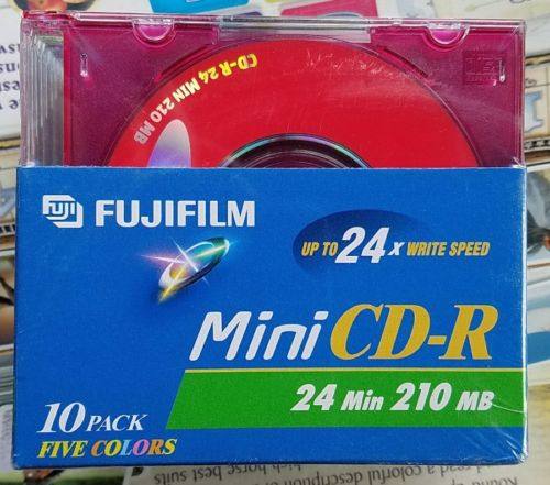 FACTORY SEALED Fujifilm Mini CD-R 10 Pack 5 Colors 24 Min 210 MB 24X