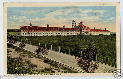 Vintage 1916 BARBERTON Ohio O.C. Barber's FARM Barn POSTCARD Halcyon League Club