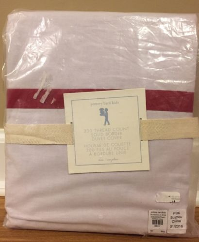 NEW Pottery Barn Kids 200 Thread Count Decorator Solid Border TWIN Duvet RED