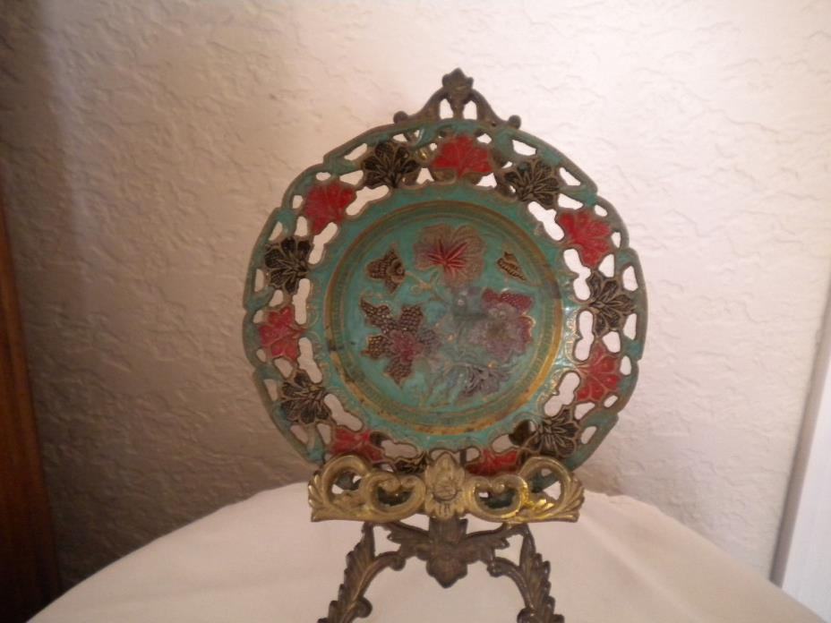Vintage brass hand - painted pedestal 6 inch bowl from India