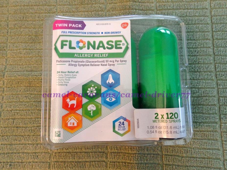 FLONASE Allergy Relief 2 X 120 Metered Sprays 24hr NON DROWSY Nasal Spray 11/17