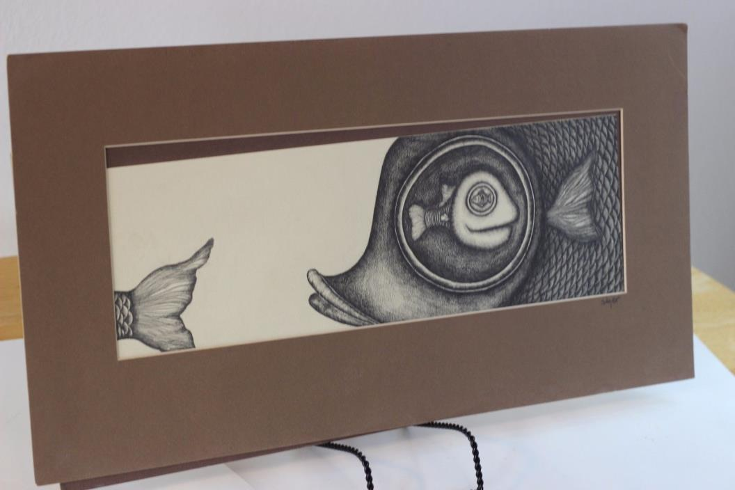 JOEL SAGER Pencil Graphite on paper matter frame Abstract fish 21