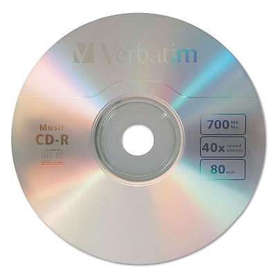 Verbatim CD-R Music Recordable Disc, 700MB, 40x, 25/Pk 023942961550