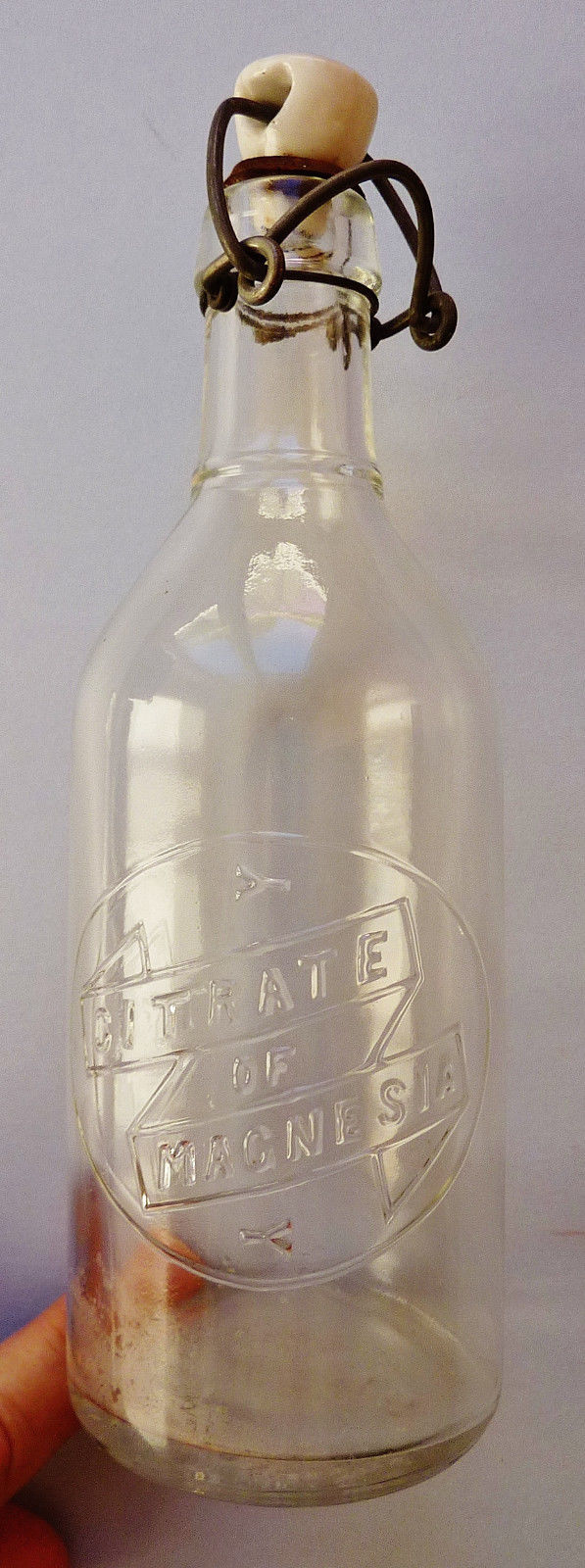 VINTAGE ~ OWENS ~ CITRATE OF MAGNESIA ~ BOTTLE w/ PORCELAIN STOPPER ~ 8.5