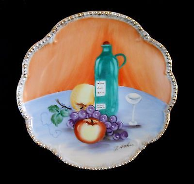 Ucagco Ceramics Japan Handpainted Decorative Plate Signed T. Soki Fruit & Vine