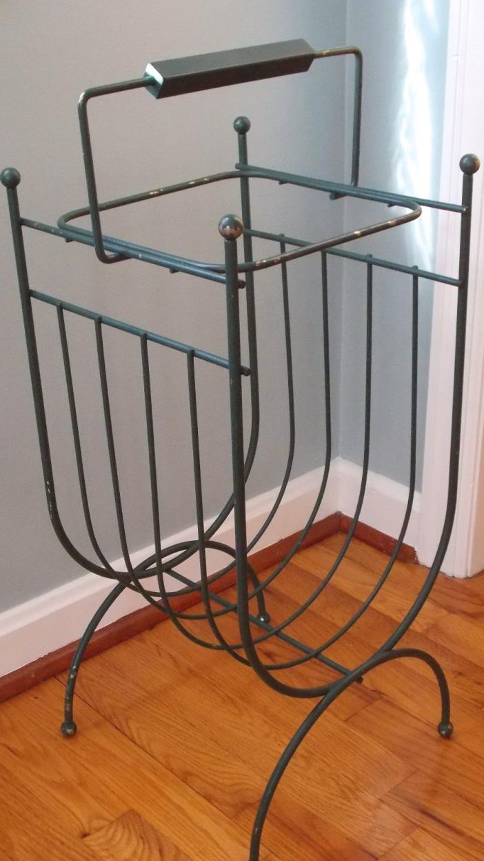 Antique Green Wire Magazine Rack, Wood Handle
