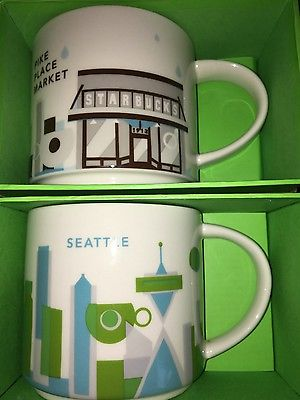 Set of 2 Starbucks City Mug: PIKE PLACE MARKET & SEATTLE, «YAH» with SKU, 14oz.