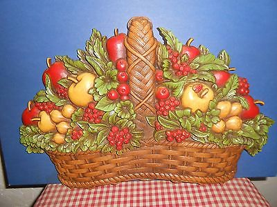 Homco Home Interior fruit basket with lady bug picture