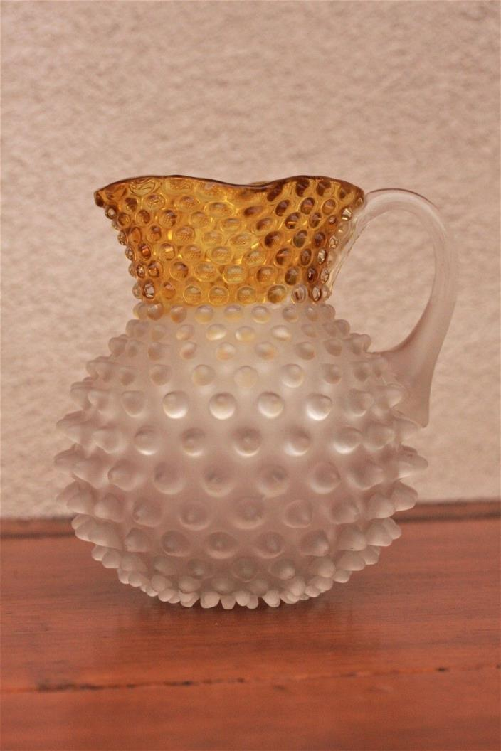 Francesware Hobnail Pitcher, Yellow & Frosted Glass, Hobbs Victorian Dew Drop
