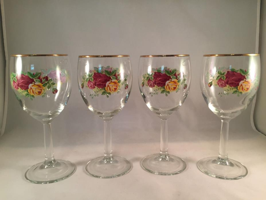 Royal Albert Old Country Roses Set Of 4 Tall Cooler Wine Glasses New In Box 1990