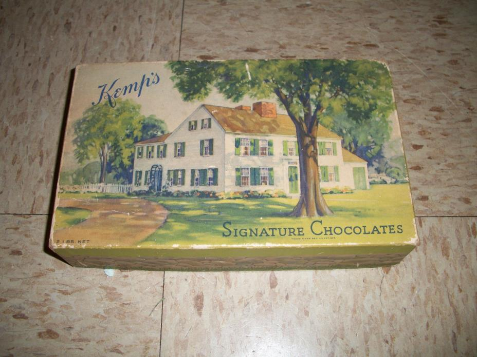 Antique Kemps Chocolates Cardboard Box with picture of home Kemhs
